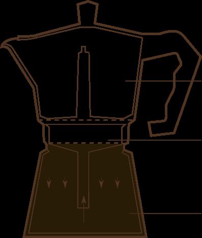 Гейзерная кофеварка состоит из